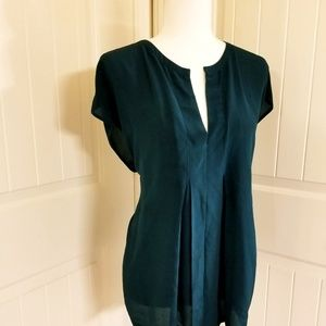 Lucky Brand - Silk Short Sleeve Blouse - Green